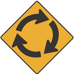 WARNING ROUNDABOUT AHEAD