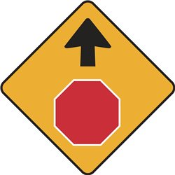 WARNING STOP SIGN AHEAD