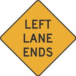 WARNING LEFT LANE ENDS