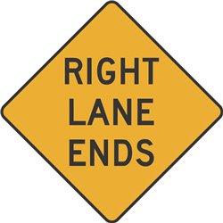 WARNING RIGHT LANE ENDS