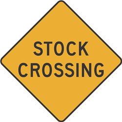 WARNING STOCK CROSSING
