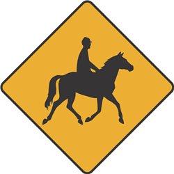 WARNING HORSE AND RIDER