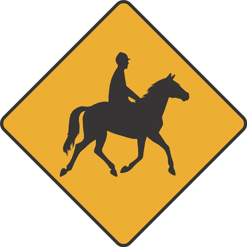 WARNING HORSE AND RIDER