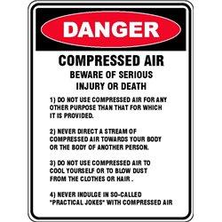 DANGER COMPRESSED AIR BEWARE