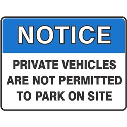 NOTICE PRIVATE VEH NOT PERMIT