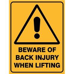 WARNING BEWARE OF BACK INJURY