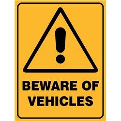 WARNING BEWARE OF VEHICLES