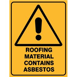 WARNING ROOF MAT CONT ASBEST