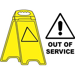 YELLOW FLOOR STAND OUT OF SERVICE