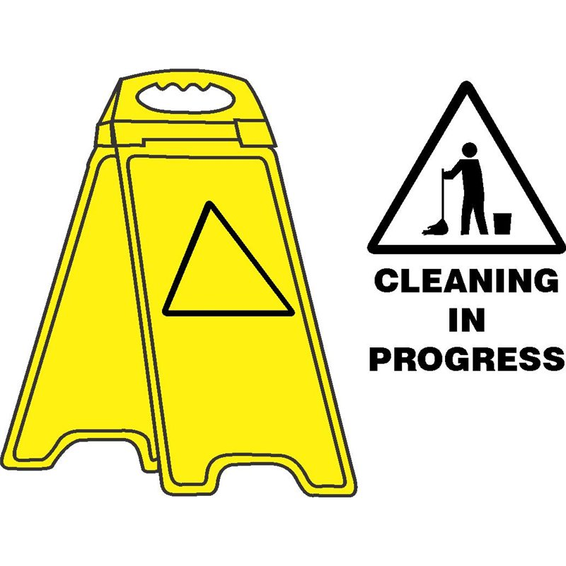 YELLOW FLOOR STAND CLEANING IN PROGRESS