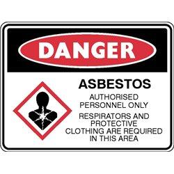 DANGER ASBESTOS  RESPIRATORS AND PPE MUST BE WORN