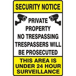 SECURITY PRIVATE PROPERTY NO TRESPASSERS