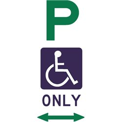 ACCESIBLE DISABLED PARKING ONLY 2 WAY ARROW